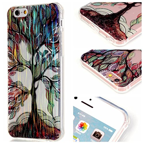 iPhone 6S Plus Hülle Case,Gift_Source [Magpie] [Satin Finish] [Drop Protection] Luxury Brushed Satin design Flexible Silicone Soft TPU Transparent mit Dust Plugs Hülle Case für iPhone 6s Plus / 6 Plus E01-09-Tree and Leaf