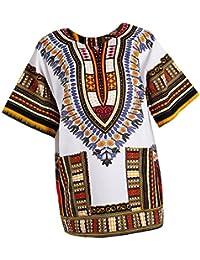 Prettyia Stampe Africane Vestono Caftano Etnico T-shirt Camicie di Cotone  per Donna 49cce647c29a