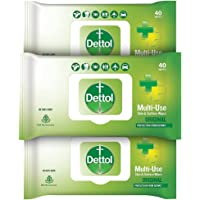 Dettol Disinfectant Sanitizer Wet Wipes for Skin & Surfaces , Original (Pack of 3, 40 Count each) | Moisture-Lock Lid…