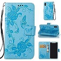 AmberMa Schutzhülle für iPhone 8 Plus, hochwertig, Durchsichtiges Design, PU Leder, TPU, stoßfest, Kartenfächer, Magnetverschluss, Standfunktion