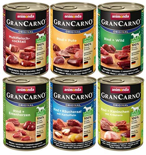 animonda GranCarno adult Hundefutter, Nassfutter für erwachsene Hunde, Mix 2,  6 x 400 g