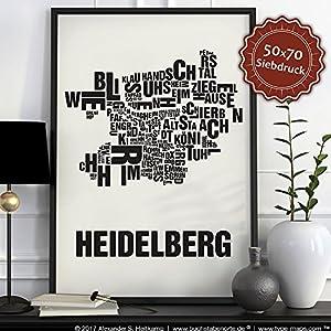 Heidelberg Buchstabenort Schwarz auf Naturweiß