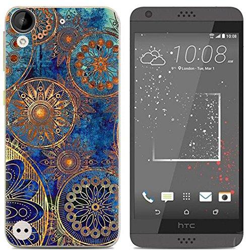 Yrlehoo Für HTC Desire 650, Premium softe Silikon Schutzhülle für HTC Desire 650 Tasche Case Cover Hülle Etui Schutz Protect, Blaue Blumen