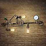 M-zmds Edison E27 3-Licht Beleuchtung Wandleuchte Wandleuchte, Retro Industrie Wasserrohr Wandleuchte mit Gang Druckmesser Tippen Sie auf Akzent für Schlafzimmer Wohnzimmer Nacht Gang Korridor Wand Laterne