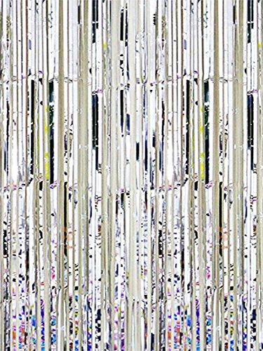 Oblique Unique® Lametta Vorhang 92x245 cm (Silber) -