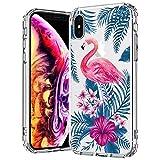 MOSNOVO Coque iPhone XS/Coque iPhone X, Tropical Flamant Fleur Clair Design Motif Transparente Arrière avec TPU Bumper Gel Coque de Protection pour iPhone X/iPhone XS (Tropical Flamingo)