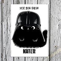 """TinyTami ★ Witzige Katzen Postkarte ★ Kater MOO ★"""" Ich bin dein Kater"""" ★ Darth Vader ★ Star Wars ★ schwarze Katze Grußkarte ★ Vatertag ★100% Handmade"""
