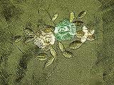 HH-NN-1968 0,1m Stoffprobe Seidenstoff Rosen Bestickt grün