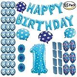 COTIGO - Globos Cumpleaños Happy Birthday #1 Color Azul, Año 1