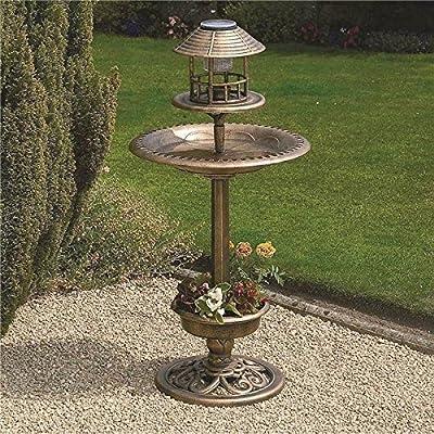 New Outdoor Bronze Bird Feeder Bath Solar Light Weather Resistant Garden Hotel from Elitezotec®