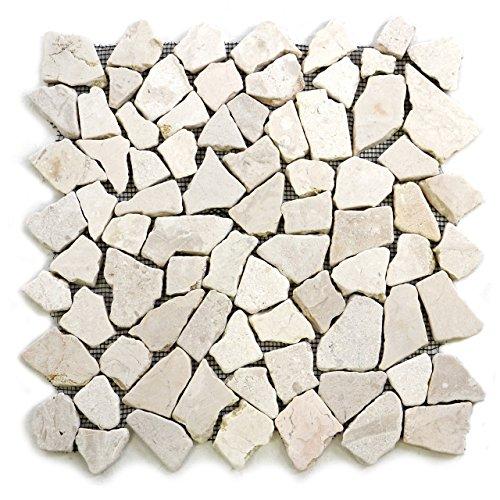 Divero 9 Matten 33 x 33cm Marmor Naturstein-Mosaik Fliesen für Wand Boden Bruchstein creme -