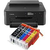 Canon Pixma TS705 TS-705 Farbtintenstrahl-Gerät (Drucker, USB, CD-Druck, WLAN, LAN, Apple AirPrint) Schwarz + 5er Set IC…
