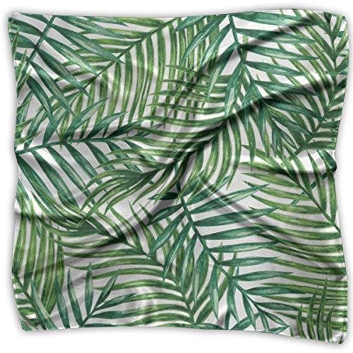Weiche Halstuch Halstuch Frauen Square Halstuch Tropical Palm Leaves Polyester Seide Dekoration Schal Bandanas Stirnband