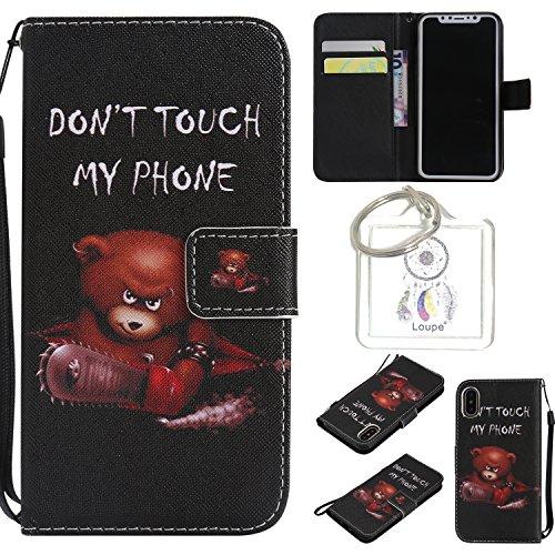 für iPhone X PU Wallet Case Schutz Hülle für Apple iPhone X - Cover Flip Tasche mit Kartenfach in Buch Stil mit Kartenfach Standfunktion Magnetverschluss und Hand Wrist +Schlüsselanhänger (O) (12)