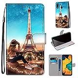 Miagon Flip PU Leder Schutzhülle für Samsung Galaxy A20e,Bunt Muster Hülle Brieftasche Case Cover Ständer mit Kartenfächer Trageschlaufe,Turm Mädchen