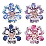 Frcolor 4pcs cristallo metal jaw pinze per capelli piccola farfalla design fermaglio per donne ragazza (viola, rosa, blu e blu scuro)