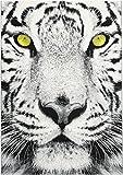 Aspekt 120x 170cm EIN faszinierendes Tiger Print Polypropylen Leader Teppich mit Gelb Farbige Augen, grau