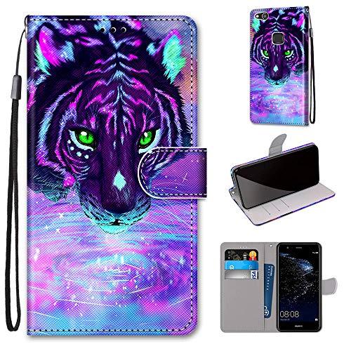 Miagon Flip PU Leder Schutzhülle für Huawei P10 Lite,Bunt Muster Hülle Brieftasche Case Cover Ständer mit Kartenfächer Trageschlaufe,Trinken Tiger