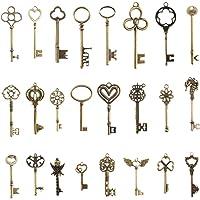 Pulluo 24 Pz Chiavi Vintage Ciondoli Bronzo Antico con Scheletro Set Chiavi Fai Da Te Keys Retro Accessori Decorazioni…