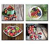 Piy Painting 4X Impresión de la Lona de Fruta Fresca Cuadro en Lienzo Cerezas Fresa Imagen Arándano...