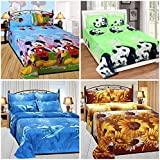 Sky Tex Super Saver Combo Of 4 3D Multi Color Poly Cotton 140 TC Queen Size Double Bed Sheets With 8 Pillow Covers