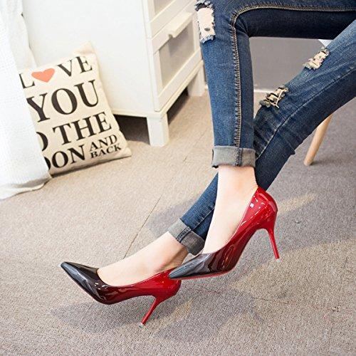 Damen Pumps Slip Lackleder Spitz Zehen Stilettos Rot Sohle Anti-Rutsche Hochzeit Leicht Schuhe Rot