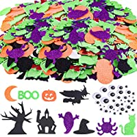 TUPARKA 220 Pcs Halloween Foam Stickers Glitter Self Adhesive Foam Stickers Assorted Foam Craft Stickers for Halloween Party Crafts Decoration
