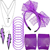80s Costume Accessories, Fishnet Gloves Lace Headband Earrings Necklace Bracelet (Purple)