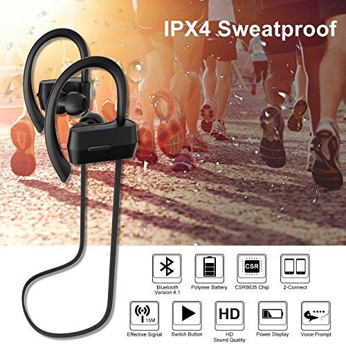 Sunvito Bluetooth V4.1 Headset, Sweatproof Sport drahtloser Kopfhörer In-Ear-Ohrhörer mit Mikrofon für Lauftraining Gym (Stereo, Geräusch-Annullierung, 6 Stunden Spielzeit, Sichere Ohrbügel Design) - 6
