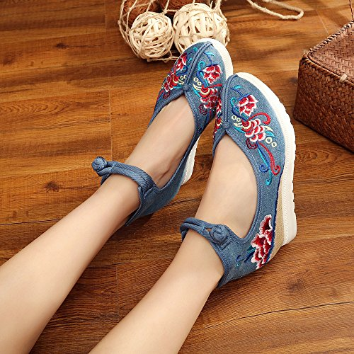 DESY scarpe ricamate, biancheria, suola del tendine, stile etnico, aumento scarpe femminili, moda, comodo, casual Blue