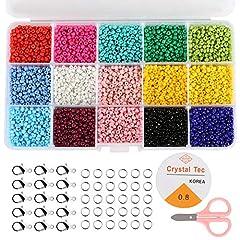 Idea Regalo - Naler 7500 Perline Vetro di 3mm Perline Colorate per Fai da Te Mini Perle di Braccialetti, Collane, Bigiotteria 15 Colori