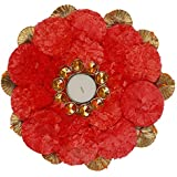 PartyHut Round Flower Mat With Tealight Candle Holder For Diwali Decoration