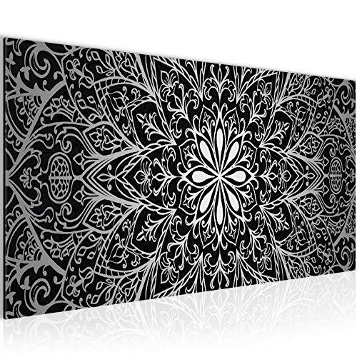 Bilder Mandala Abstrakt Wandbild 100 x 40 cm Vlies - Leinwand Bild XXL Format Wandbilder Wohnzimmer Wohnung Deko Kunstdrucke Weiß 1 Teilig - Made IN Germany - Fertig zum Aufhängen 107412c