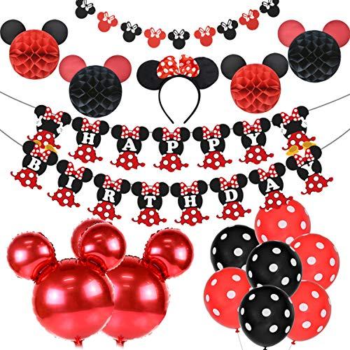 Party Supplies Geburtstag Dekorationen rot und schwarz für Mädchen, Ohr Stirnband, Happy Birthday Banner und Girlande für 1. 2. Geburtstag Dekorationen ()
