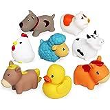 Pływająca zabawka kąpielowa, zestaw do kąpieli (8 sztuk), miękka kaczka dla psów, owca, kura, świnka, zabawka kąpielowa, zaba