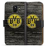 DeinDesign Samsung Galaxy A6 2018 Tasche Leder Flip Case Hülle Borussia Dortmund BVB Holzoptik