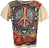 Guru-Shop Mirror T-Shirt - Peace/Beige, Herren, Baumwolle, Size:XL, Bedrucktes Shirt Alternative Bekleidung