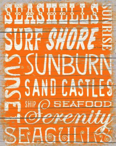 Sixtrees Coastal Words Panneau Plat Orange
