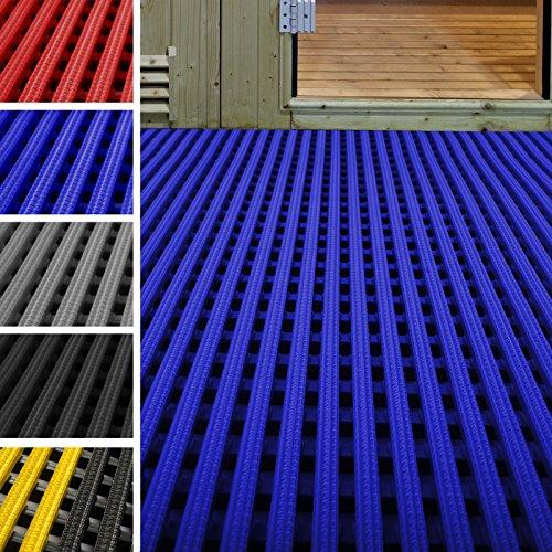 etm Tapis antidérapant caillebotis PVC | idéal Surface Humide | Tapis intérieur extérieur, Tapis Industriel | multigrip, 60x100cm - Bleu