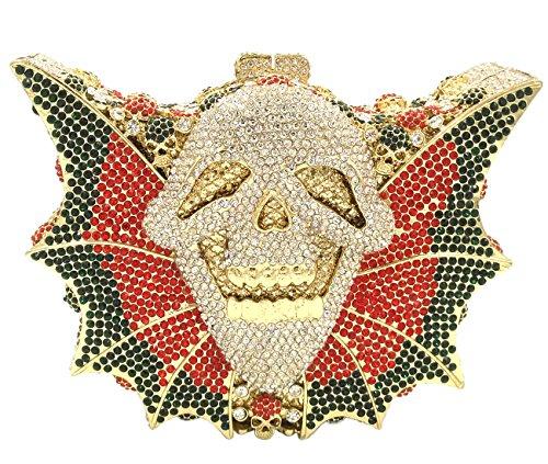 Clutch pour Femme Pochette Soirée Sac à Main Mariage Bandouliere Bal Chaîne Sac Fête Bourse Maquillage Squelettes Argent