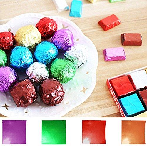 Bonbonpapier mit dickem Papierrücken, zum Einwickeln von Bonbons, Schokolade, Pralinen, leicht zu falten und wickeln, 7,6 x 7,6 cm (3 x 3 Zoll), 100 Stück blau