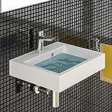 Waschbecken aus Mineralguss Eckig Waschtisch Handwaschbecken 50 cm Breite Badezimmer