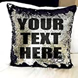 #9: CONNECTWIDE® Mermaid Pillow Cushion Cover, Mermaid Pillow Case without Insert Sparkling Mermaid with Flip Sequin Throw Pillow Mermaid Magic Glitter Reversible Color Changing Decorative Pillow Shams Dorm Room Decor for Sofa Comfy, When you move your fingers through the fabric, Hidden Zipper Design, The sequins will follow your direction and Give the 2 colors. (43x41x2 cm )1 Pcs. (Black & Silver)