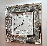 Premierinteriors Gatsby Moderne mit Kristall Spiegel Glas Wanduhr, Quadratisch, 50cm Silber 205