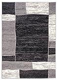 Tapiso Designer Teppich Wohnzimmer Meliert Bordüre in Grau Beige 180 x 250 cm