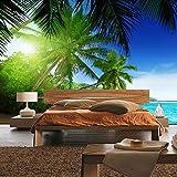 Fototapete 400x280 cm - ALLE TOPSELLER auf einen Blick ! Vlies PREMIUM PLUS - PARADISE BEACH - Strand Meer Palmen Beach 3D Ozean Palme - no. 005