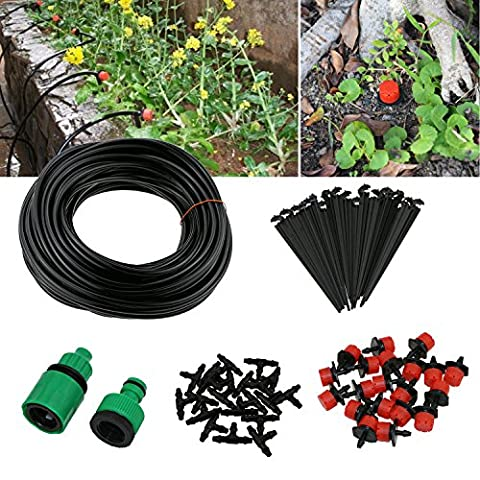 TedGem Drip Irrigation Kit 20m /65.6 feet - Irrigation Gardener's Greenhouse Plant Watering, Blank Distribution Tubing Micro Landscaper Sprinkler Landscape & Shrub Drip Kit
