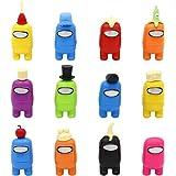 12pcs Among Us Merch Figurine, Mini Cute Figuras de juego Colección Juguetes Muñecas extraíbles Adornos Cumpleaños para fanát