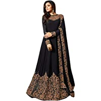 Florely Women's Embroidered Georgette Semi-Stiched Anarkali Gown with Dupatta_Free Size