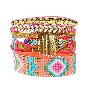Manchette Lovelyness Hipanema - Bracelet brésilien rose corail - L